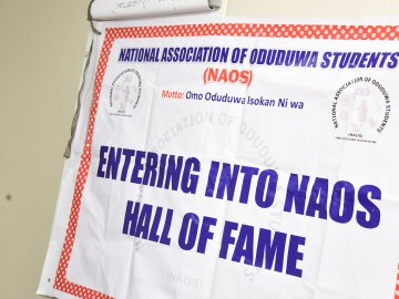 The Banner of NOAS displaying their Logo and Motto: Entering into NAOS Hall of Fame.