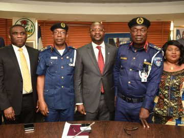 L-R: Director Public Affairs NCC (Mr. Tony Ojobo); Assistant Commandant General –CNAIP (Mr. Jonathan Iyogho); EC Stakeholder Management NCC (Mr. Sunday Dare); Deputy commandant General- CNAIP (Mr. Amos Andekein) of NSCDC and Legal Adviser NSCDC (