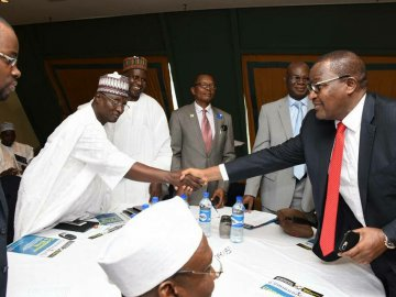 Prof. Danbatta, EVC NCC receiving members of the Nigerian academic community at the event.