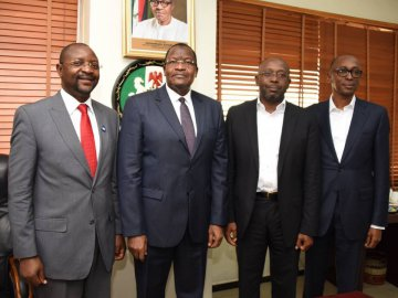 Left to Right: Mr. Sunday Dare, Executive Commissioner Stakeholder Management, Nigerian Communications Commission (NCC); Prof. Umar Garba Danbatta Executive Vice Chairman, Nigerian Communications Commission (NCC); Mr. Boye Olusanya, Chief Executive O